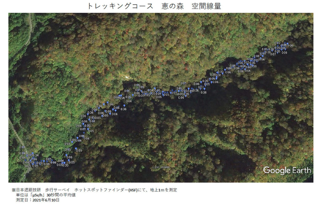 トレッキングコース 恵の森 空間線量 測定結果